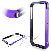 Bumper Aluminio Vapor 4, iPhone 4 / 4S Lila y Negro