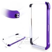Bumper Aluminio Vapor 4, iPhone 4 / 4S Lila y Plata