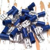 100x Terminales Faston Hembra 6,3mm (16-14) Aislante Color Azul