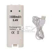 Batería Recargable para Mando Remote Wii Blanco Capacidad 3600mA