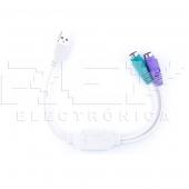 Cable Adaptador USB 2.0 Doble PS / 2 para Teclado, Ratón