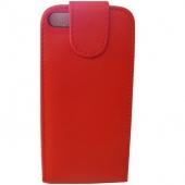 Funda Carcasa iPhone 5 5G Piel Polipiel Cuero Rojo
