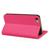 Funda Carcasa iPhone 5 5G Piel Polipiel Cuero Fucsia