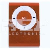 Mini Reproductor MP3 CLIP NARANJA Admite Hasta 8Gb MicroSD