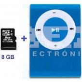 Mini Reproductor MP3 CLIP AZUL Incluye Tarjeta 8GB MicroSD