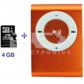 Mini Reproductor MP3 CLIP NARANJA Incluye Tarjeta 4Gb MicroSD