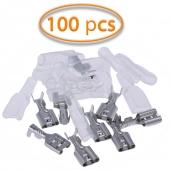 100x Terminales Faston Hembra 6,3mm (16-14) Funda Transparente