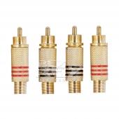 4X Conectores RCA Metalicos Oro sin Soldadura Entrada Flexible d