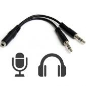 Adaptador Conversor Jack Hembra 4 Pines a 2x Macho 3,5mm Audio M