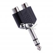 Adaptador Convertidor JACK MACHO 6,3 mm a DOBLE RCA HEMBRA Nuevo