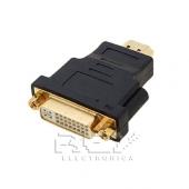 Adaptador  DVI  D(18+1) Macho a HDMI Hembra con Perno Dorado