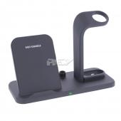 Base Inalámbrica Cargador Dock Wireless Movil 3 en 1 Qi Estandar