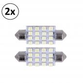 2x Bombilla Coche C5W 3528SMD 16 LED 12V Luz Bajo Consumo