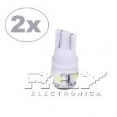 2x Bombillas Coche T10 5LED Blanco 5SMD Luz Bajo Consumo