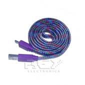 Cable USB a Micro USB Cordón Nylón Trenzado Lila Multicolor