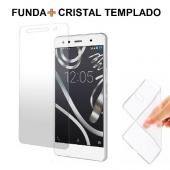 Funda + Protector BQ AQUARIS X5/X5 CYANOGEN de Cristal Templado