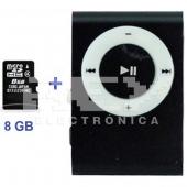 Mini Reproductor MP3 CLIP NEGRO Incluye Tarjeta MicroSD 8GB