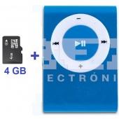Mini Reproductor MP3 CLIP AZUL Incluye Tarjeta 4Gb MicroSD