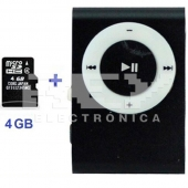 Mini Reproductor MP3 CLIP NEGRO Incluye Tarjeta 4GB MicroSD