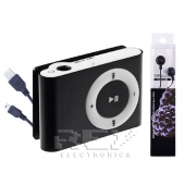 Mini Reproductor MP3 CLIP NEGRO Hasta 8GB MicroSD + Auricular+ C