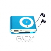 Mini Reproductor MP3 CLIP AZUL + Auricular Color Negro