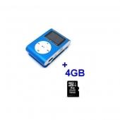 Reproductor MP3 CLIP Pantalla LCD radio FM AZUL + 4Gb MicroSD