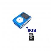 Reproductor MP3 CLIP Pantalla LCD radio FM AZUL + 8Gb MicroSD