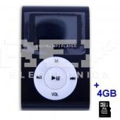 Reproductor MP3 CLIP Pantalla LCD radio FM NEGRO + 4Gb MicroSD