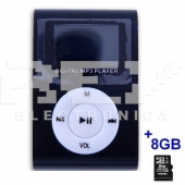 Reproductor MP3 CLIP Pantalla LCD radio FM NEGRO + 8Gb MicroSD