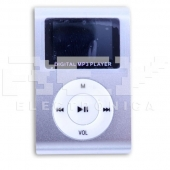 Reproductor MP3 CLIP Pantalla LCD radio FM PLATA