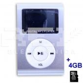 Reproductor MP3 CLIP Pantalla LCD radio FM PLATA + 4Gb MicroSD