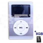 Reproductor MP3 CLIP Pantalla LCD radio FM PLATA + 8Gb MicroSD