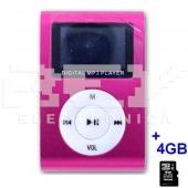 Reproductor MP3 CLIP Pantalla LCD radio FM ROSA + 4Gb MicroSD
