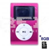 Reproductor MP3 CLIP Pantalla LCD radio FM ROSA + 8Gb MicroSD