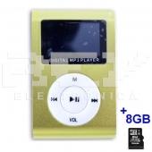 Reproductor MP3 CLIP Pantalla LCD radio FM VERDE 2 + 8Gb MicroSD