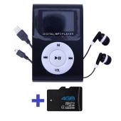 Reproductor MP3 CLIP Pantalla LCD radio FM NEGRO + Auricular+USB