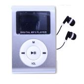 Reproductor MP3 CLIP Pantalla LCD radio FM PLATA + Auricular
