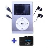 Reproductor MP3 CLIP Pantalla LCD radio FM PLATA + Auricular+USB