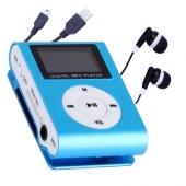 Reproductor MP3 CLIP Pantalla LCD radio FM AZUL + Auricular+Cab
