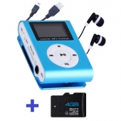 Reproductor MP3 CLIP Pantalla LCD radio FM AZUL + Auricular+USB