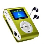 Reproductor MP3 CLIP Pantalla LCD radio FM VERDE + Auricular