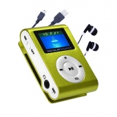 Reproductor MP3 CLIP Pantalla LCD radio FM VERDE + Auricular+Cab