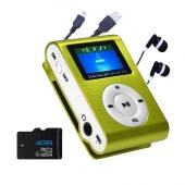 Reproductor MP3 CLIP Pantalla LCD radio FM VERDE + Auricular+USB