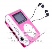 Reproductor MP3 CLIP Pantalla LCD radio FM Rosa + Auricular
