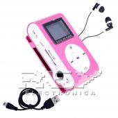 Reproductor MP3 CLIP Pantalla LCD radio FM ROSA + Auricular+Cab