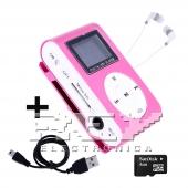 Reproductor MP3 CLIP Pantalla LCD radio FM ROSA + Auricular+USB