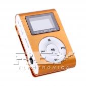 Reproductor MP3 CLIP Pantalla LCD radio FM NARANJA