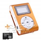 Reproductor MP3 CLIP Pantalla LCD radio FM NARANJA + 4Gb MicroSD