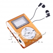 Reproductor MP3 CLIP Pantalla LCD radio FM NARANJA + Auricular