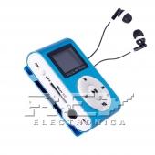 Reproductor MP3 CLIP Pantalla LCD radio FM AZUL + Auricular